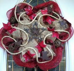 Deco Mesh Wreath Burlap and Red Western Wreath by Dudlebugs, $30.00