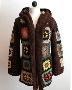 granny square jacket | Scrap Granny Hooded Jacket Pattern PA877 by Maggiescrochet