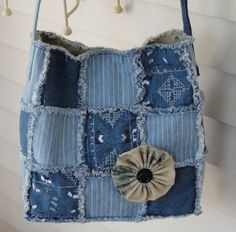 Upcycled Frayed Denim Purse with Floral by ChaptersUnlimited, $32.50