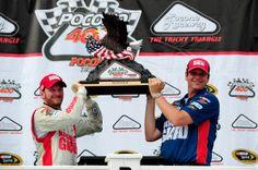 Dale Earnhardt Jr.& Steve Letarte in Victory Lane after winning the Pocono 400