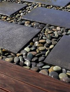 Concrete steppers with beach pebble between