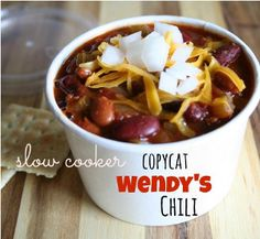 If you can't get enough of Wendy's famous chili, make the copycat version at home with this awesome slow cooker chili recipe for All-Day Slo...