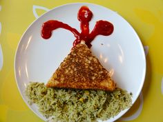 Grilled cheese volcano!  (could do broccoli instead of rice)