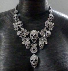 Multi skull necklace, silver, women's, apparel, accessory, goth, emo, heavy metal, rocker, rock star, punk, black, rock the f out, fashion