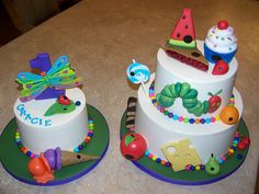 Very Hungry Caterpillar Cakes for Gracie's 1st Birthday! by Erin Salerno, via Flickr
