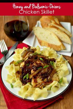 Honey and Balsamic-Onions Chicken Skillet | iowagirleats.com