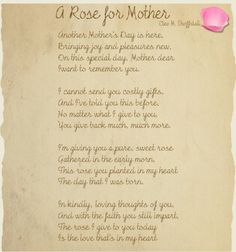 mother's day memorial verses uk