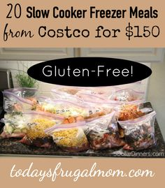 20 Slow Cooker Freezer Meals From Costco For $150 :: Come see how you can make 20 slow cooker freezer meals for your family from Costco for just $150! :: TodaysFrugalMom.com