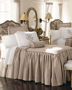 taupe and white bedroom linens...super gorgeous!