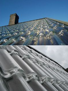 Swedish company SolTech Energy brings solar in a different direction with their roofing tiles, made from ordinary glass in the shape of ordinary roofing tiles.