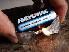 Start fire with battery and gum wrapper