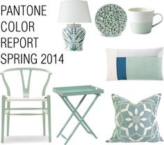 "Interior Design and Home Decor inspired by the color ""Hemlock"" from Pantone's Color Report Spring 2014. I love the gray/mint shades! http://www.stockholmmilano.blogspot.se"