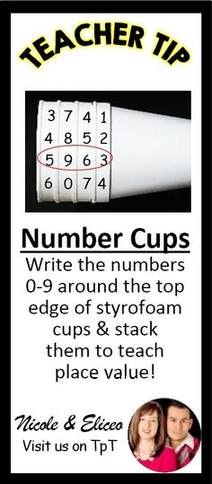 TEACHER TIP: Stacked cups make a great visual for teaching number sense & place value!