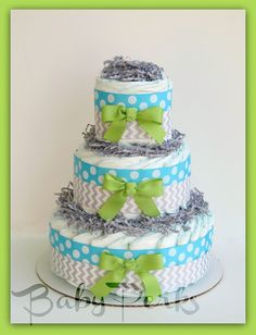 Boys Baby Shower ,Oh Baby Chevron Aqua & Lime, Baby Diaper Cake, Baby Shower Decorations on Etsy, $49.99