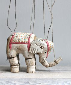 Antique Elephant Marrionette-old toys