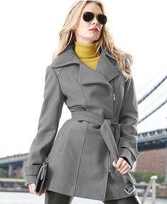 Kenneth Cole Reaction Coat, Wool-Blend Zipper Trench Coat - Womens Coats - Macy's - $139