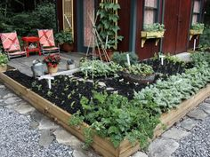 I love this raised bed as an extension of the deck. It's a perfect kitchen garden.
