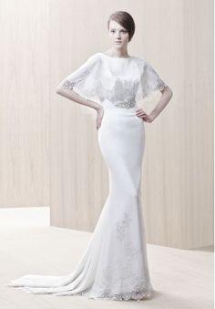 Chiffon Bateau Column Elegant Wedding Dress