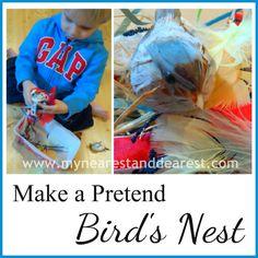 kids activity to make a pretend bids nest
