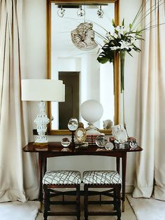 Side-table styling // tall vase and table top accessories