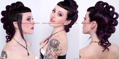 Alternative wedding style pin-up hair and makeup. Super short bangs and faux-hawk mohawk style hair