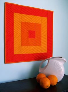 Mod Square - Functional Art Quilt in Shades of Orange