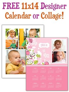 FREE 11x14 Designer Calendar or Collage! {+ s/h} ~ these make great gifts!