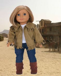 """Brown Western Cowboy Set with Boots made for 18"""" American Girl Doll Clothes #DorisDollBotuique #DollClothes"""