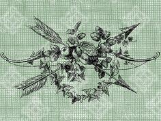 Digital Download Vintage Roses and Arrows, digi stamp, digis, digital stamp, Floral Arrangement with foliage  flowers, Antique Illustration