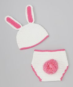 White & Pink Bunny Crocheted Beanie & Diaper Cover - this would be perfect for an Easter photo op with a newborn!