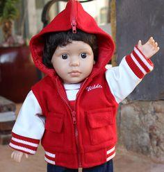 18 inch Boy Doll Letterman jackets are at www.harmonyclubdolls.com