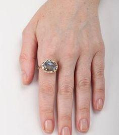 Delilah Ring, Labradorite and Black Diamond.