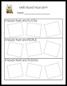 """Today in First Grade... noun sort"" and other noun activities (find nouns around the room, noun bingo, etc.)"