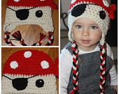 Crochet Pirate Beanie with Cream Face, Red Bandanna with White Polka Dots, and Tassels by KraftyShack on Etsy, $24.99 USD