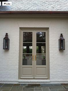 Door Is painted in Texas Leather AC-3-Benjamin Moore.  Gorgeous exterior trim color.