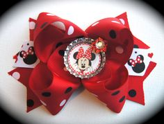 Red and Black Polka Dot Minnie Mouse Bow
