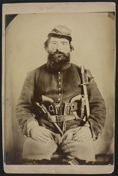 A. J. Blue, Union cavalry soldier, armed to the teeth. ca. 1861.
