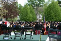 The bagpipers playing and the students waiting for Commencement to begin.
