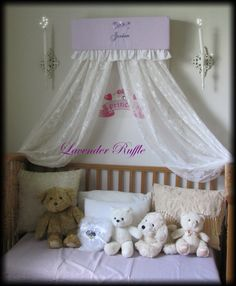 Crib CROWN BeD RUFFLES nursery canopy cornice by SoZoeyBoutique, $59.93