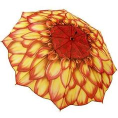 Galleria Art Print Walking Length Umbrella - Dahlia