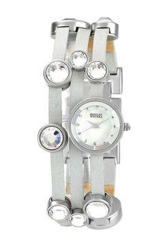 Badgley Mischka Leather Bracelet Watch.