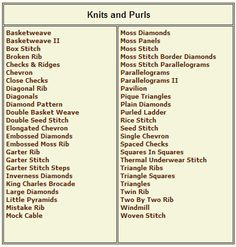 GLOSSARY KNITTING TERMS Free Knitting Projects