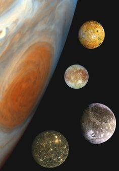 "Jupiter's Family Portrait - This ""family portrait,"" a composite of the Jovian system, includes the edge of Jupiter with its Great Red Spot, and Jupiter's four largest moons, known as the Galilean satellites. From top to bottom, the moons shown are Io, Europa, Ganymede and Callisto."
