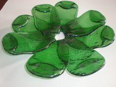 con botella, centro mesa, glass fuse, de vidrio, mesa con, glass idea, reciclaj de