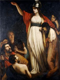 Queen Boudica by John Opie...She is one of my heroes of Celtic history.  She was tall, strong in voice, long hair past her waist the color of dark copper and piercing eyes.  She took up the fight after her people, the Iceni, where attacked by the Romans.