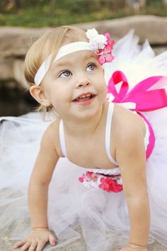 White Dress With Pink Floral Sash