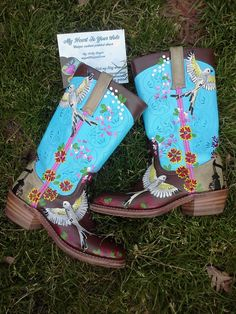 Painted Leather Boots by MyHeartToYourSole on Etsy, $100.00