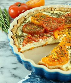 Savory Goat Cheese Tart with Roasted Heirloom Tomatoes & Jalapeño Honey Drizzle » Cooking with Cakes