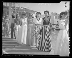 Models Lined Up For a Fashion Show in Santa Monica, California, 1941. #vintage #1940s #fashion #models