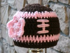 Girl's Football Hat with flower pink by ashmco on Etsy, $10.00